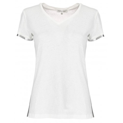 T Shirt uni col rond bande laterale