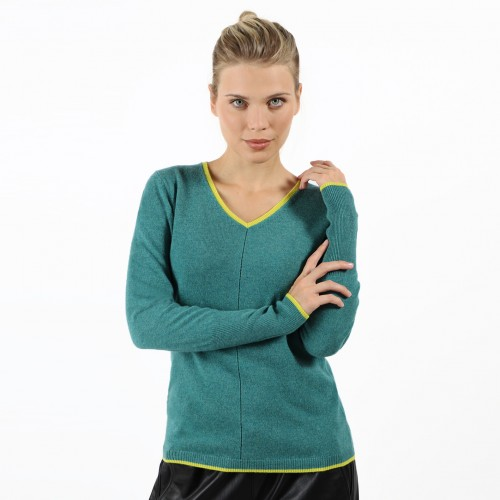 PULL COL V BICOLORE COUTURE AJOURÉE
