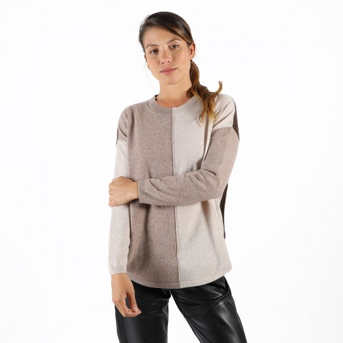 PULL COL ROND 3 COULEURS